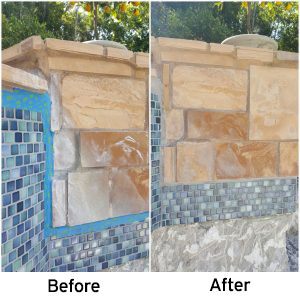 Natural stone and glass tile combo cleaning repair